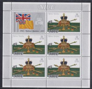 Niue # 194-195, Queen Elizabeths Reign 25th Anniv. Sheets of Five, NH, 1/2 Cat.