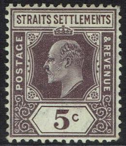 STRAITS SETTLEMENTS 1904 KEVII 5C WMK MULTI CROWN CA