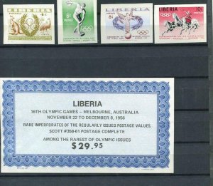 Liberia 1959 Sc 258-61 IMmperf MNH Olympic Games Melbourne Australia 6221