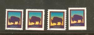 US Scott # 3467, 3468, 3475 & 3484  Bison Set of 4 MNH