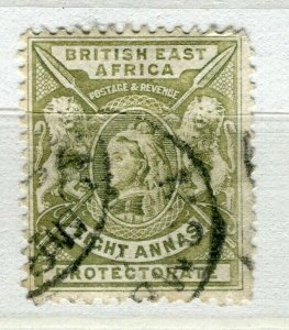 BRITISH KUT; ; East Africa Protectorate 1896 classic QV issue used 8a. value