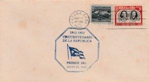 1952 Cuba Stamps Sc 476 Cuba Republic 50th Anniversary FDC