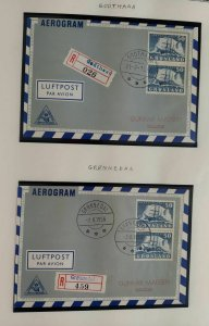 GREENLAND TOWN CANCEL COVERS, 2 albums, 144 diff covers, w/First Day postmark