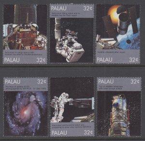 Palau 453a-453f Space Singles MNH VF