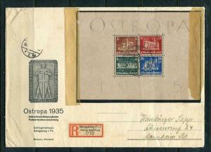 Germany 1935 Mi Block 3 OSTROPA  Sheet F Day Cancel Registered Cover RARE  7141