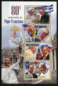 MOZAMBIQUE 2016 80th BIRTH ANNIVERSARY OF POPE FRANCIS OBAMA ETC SHEET MINT NH