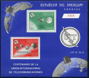 Paraguay 900a perf,imperf,MNH.Michel Bl.73-74. ITU-100,1965.Satellites.Olympic.