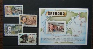 Grenada 1978 Captain Cook Discovery of Hawaii set & Miniature Sheet MNH