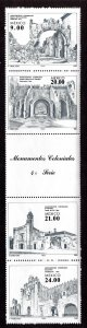 Mexico MNH Strip 1341a W/Label Monuments 1983 SCV 4.00
