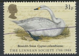 Great Britain SG 1382 SC# 1203  Used  pen line cancel  Swan  Linnean 1993  se...