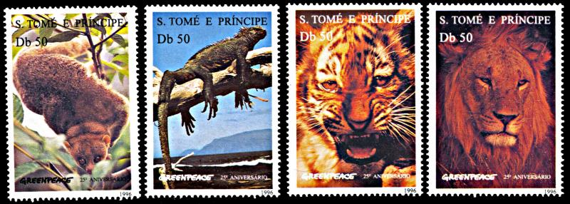 St. Thomas & Prince Islands MNH 1237-40 Animals & Greenpeace