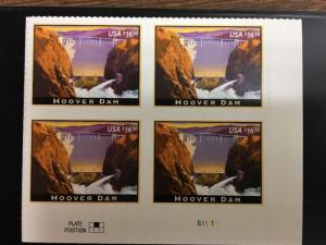 4269 Hoover Dam   Plate Block Of 4.  MNH