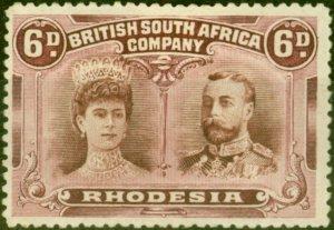 Rhodesia 1910 6d Brown & Purple SG145 Fine & Fresh Mtd Mint