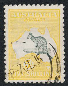 AUSTRALIA 44 USED VF, 5 SH. YELLOW, 2nd WMK