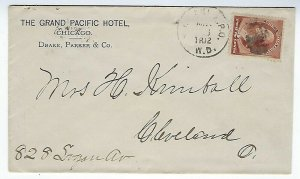 #210 ON THE GRAND PACIFIC HOTEL CHICAGO COVER TO CLEVELAND OHIO MAY 1986 - Q67