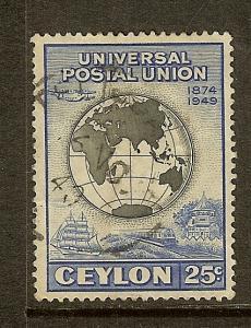 Ceylon, Scott #306, 25c UPU Issue, Used