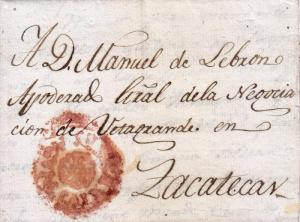 J) 1811 MEXICO, COLONIAL MARK, CHOICE RED CROWN AGUASCALIENTES TO ZACATECAS, Y