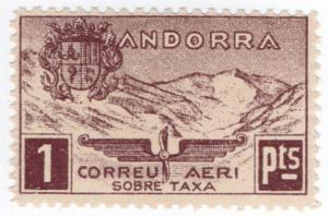 (I.B) Andorra Postal : Airmail 1Pts
