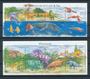 [107203] Liberia 1999 Prehistoric animals dinosaurs Marine life 2 Sheets MNH