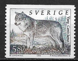 1993 Sweden #1932 Canis Lupus 5.80k MNH