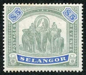 Selangor SG64 1895 Five Dollar Green and Blue M/Mint (hinge remainders)