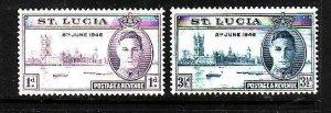 St Lucia-Sc#127-8-unused NH KGVI Ominbus set-id4 Peace Issue-1946-