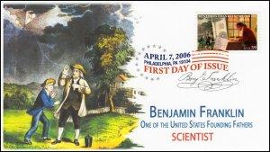 AO-4022-1, 2006, Benjamin Franklin, Add-on Cachet, FDC, DCP, Scientist, SC 4022