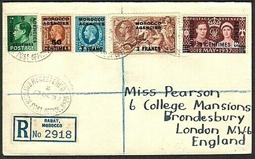 MOROCCO AGENCIES 1937 Registered cover ex Rabat - values to 3f Seahorse....73673