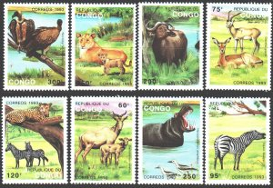 Brazzaville. 1993. 1363-70. Fauna of africa. MNH.