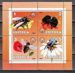Eritrea, 2001 Cinderella issue. Honey Bees on a sheet of 4.