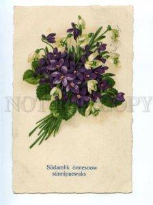 150291 SNOWDROPS & VIOLETS Bouquet RPPC Estonia Tallin 1928