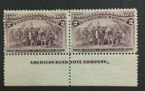 MOMEN: US #231 IMPRINT PAIR MINT OG **NH** POST OFFICE FRESH #31114