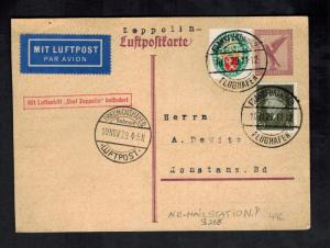 1929 Frankfurt Flight Germany Graf Zeppelin Postcard Cover LZ 127