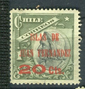 CHILE; 1910 early Columbus issue Mint hinged Fernandez 20c. surcharged