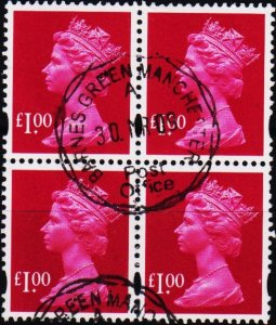 Great Britain.Date? £1(Block of 4) Fine Used