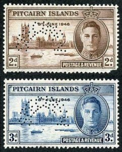 Pitcairn Is SG9s/10s 1946 Victory Set of 2 (2d damaged)
