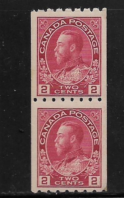 Canada 124 MNH Pair  1913 King George V