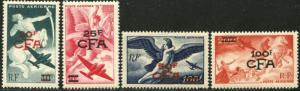 REUNION Sc#C35-C38 1949 Ovpts on France Airmails Complete Set OG Mint Hinged