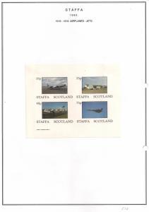 SCOTLAND - STAFFA - 1982 - Jet Aircraft #2 - Imperf 4v Sheet - MLH