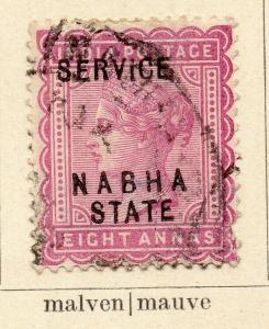 Nabha 1888-97 Early Issue Fine Used 8a. Optd 322539