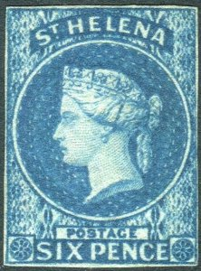 ST HELENA-1856 6d Blue.  A lightly mounted mint example Sg 1
