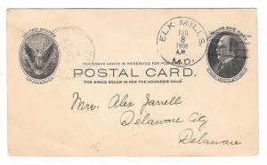 UX18 Elk Mills MD Doane Cancel Type 2/1 1906 Maryland Postmark on Postal Card