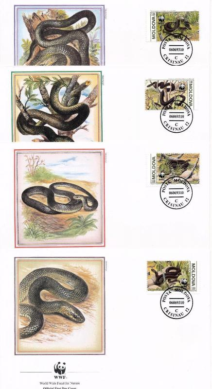 [54240] Moldova 1993 Reptiles WWF Snakes FDC 4 covers