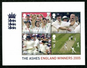 MS2573 2005 The Ashes England Winners miniature sheet UNMOUNTED MINT/MNH
