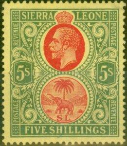 Sierra Leone 1912 5s Red & Green-Yellow SG126 Fine Mtd Mint