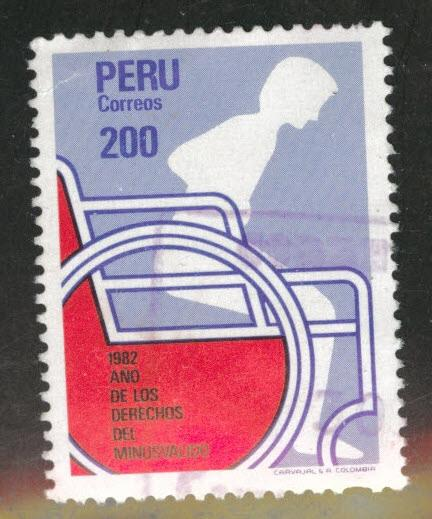 Peru  Scott 772 used Disable rights stamp from 1982