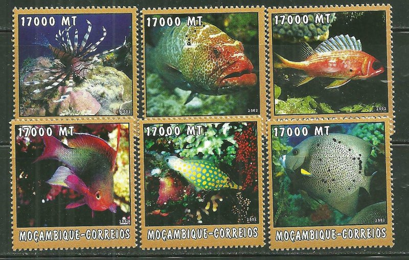 Mozambique MNH 1655A-F Fish Marine Life 2002 SCV 9.50