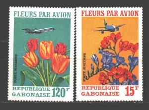 Gabon. 1971. 425-30 from the series. Airplanes, flowers. MVLH.