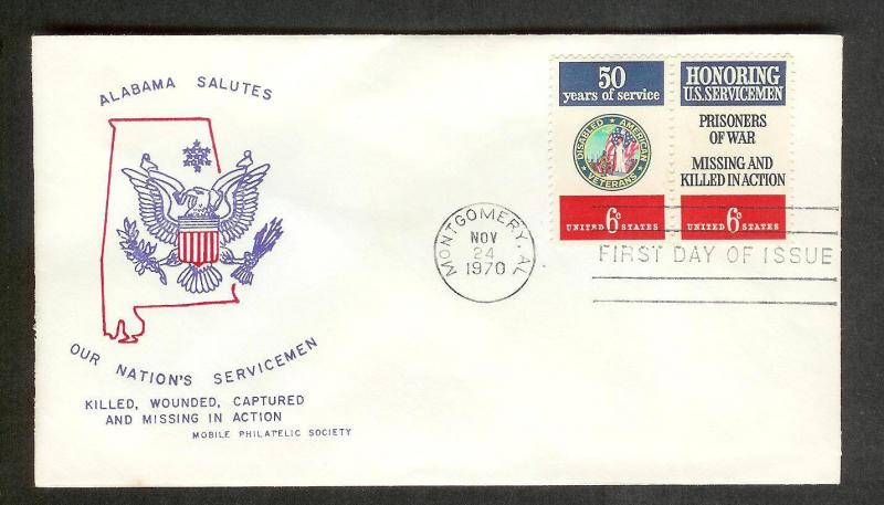 UNITED STATES FDC 6¢ Service Salute PAIR 1970 Mobile Society