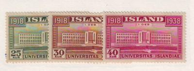 Iceland Sc209-11 1938 University Independence stamps mint